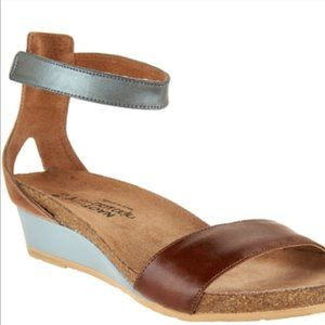 Naot Leather Ankle Strap Wedge Sandals Pixie